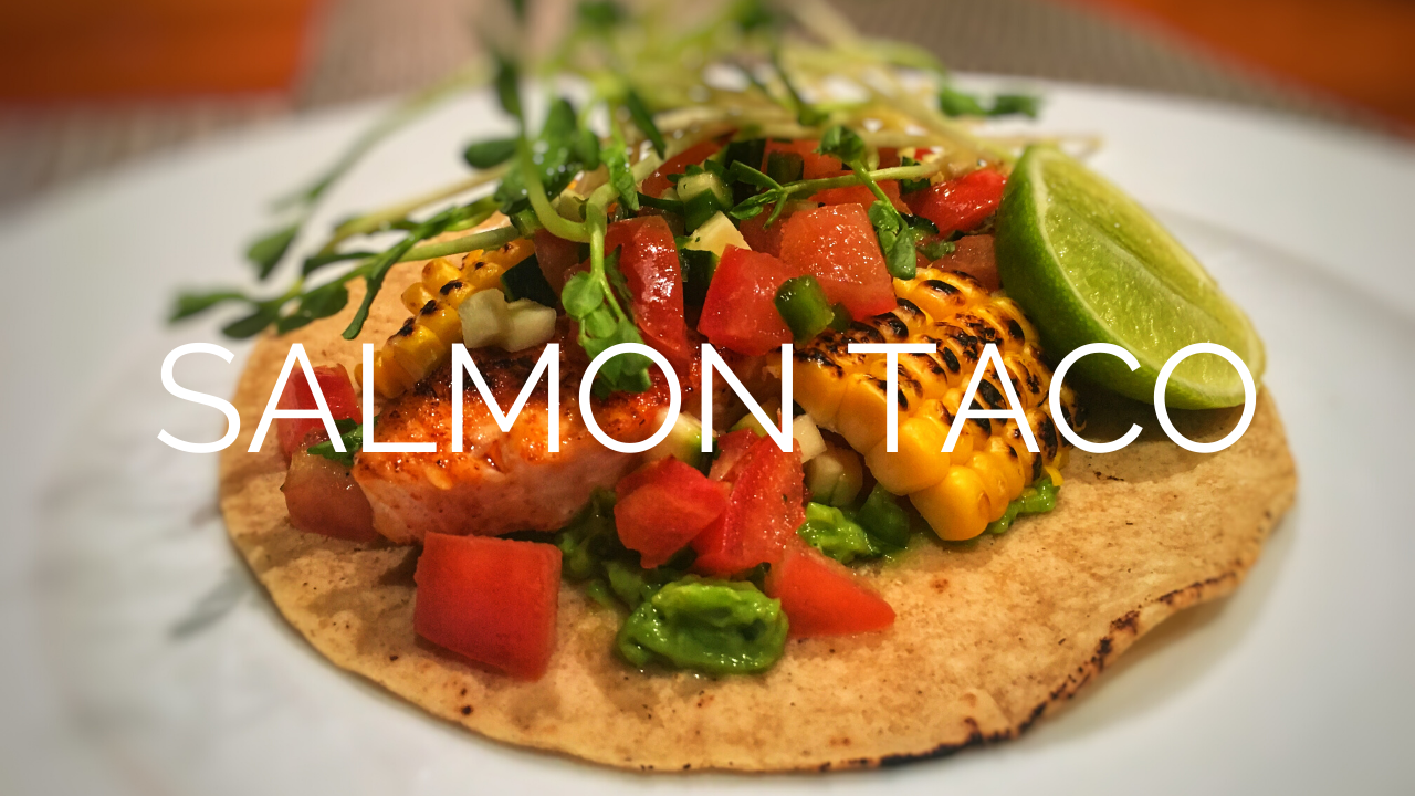 Description Of The Salmon Taco With Its Garnishes